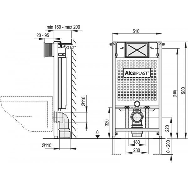 Podtynkowy Stelaz Wc Am101 1000 Do Zabudowy Lekkiej 100cm