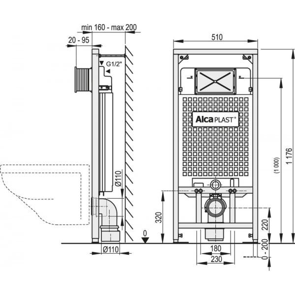 Podtynkowy Stelaz Wc A101 1200 Do Zabudowy Lekkiej 120 Cm